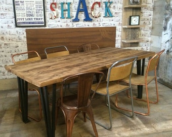 Vintage Industrial Box Hairpin Leg Rustic Reclaimed Plank Top Dining Table UK Made