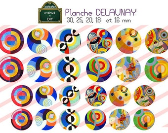 Digital collage sheet Robert Delaunay creation round cabochon (30 25 20, 18, 16 mm mm)