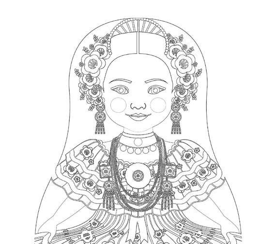 Panamanian Doll Folk Dress Coloring Sheet Printable Matryoshka
