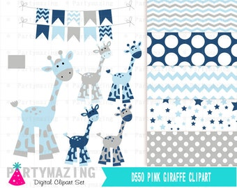 Blue Giraffe Clipart Set, Flag Bunting, Clip Art Graphic, Instant Download -D551