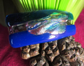 Navy Blue and royal blue glass hair Barrette with silver leaf inclusion