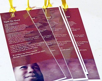 Talk To God bookmark of Christian poetry printed and laminated option apply and listed before mailed to you