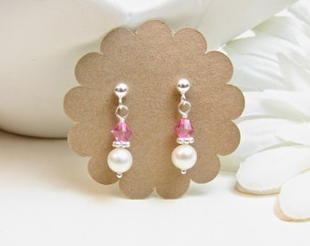 Real Pearl Earrings for Little Girl or Flower Girl - Small Dainty Pearl Earring Dangles - Birthstone Earrings - Little Girl Jewelry