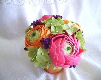Spring Wedding Centerpiece Handmade Clay Ranunculus Wedding Decoration Wedding Table Settings Cake Topper Reception Decor