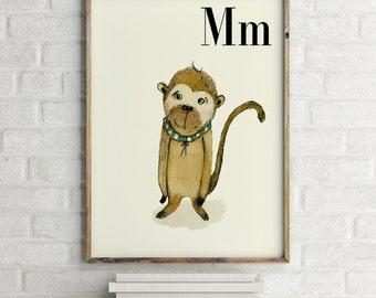 Monkey print, nursery animal print, safari nursery, alphabet letters, abc letters, alphabet print, animals prints for nursery