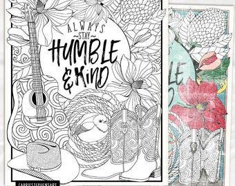 Printable Coloring Page, Humble & Kind Adult Colouring Sheet, Typography Quote, Inspirational Print, Instant Download, Country Girl