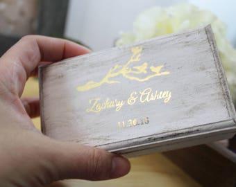 ring box gold foil ring bearer alternative rustic white wooden box for rings, wedding decor shabby chic