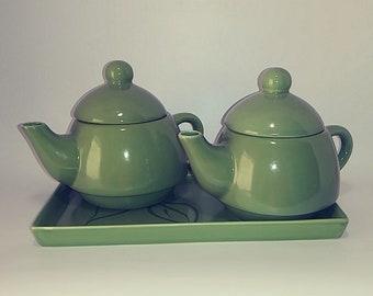 Chinese Dual Celadon Tea Set Ash Glazed 2 Tea Pots Lids Tray