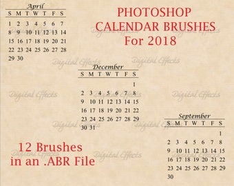 PHOTOSHOP BRUSHES, 2018 Calendar Brush Set, DiY Calendars, Digital Calendar, Photoshop Brushes ABR Files, Digital Calendar Months Stamps