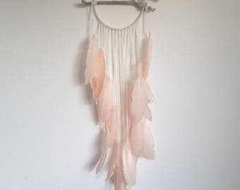 Modern dreamcatcher pastel pink crystal feather wall hanging