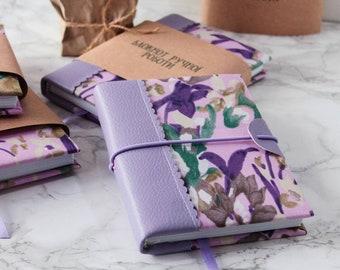 А6/А5 Irys Journal Floral Notebook Flower Diary Travel Book Handmade Notebook Purple Notebook