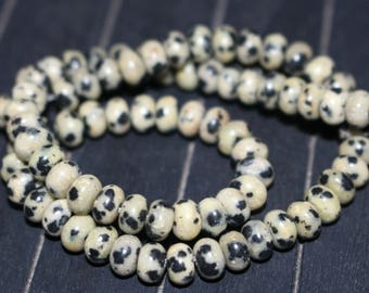 15 inches Full Strand, 4x6mm Natural Dalmatian Jasper Beads Rondelle Gemstone Beads,Spacer Beads,Abacus beads