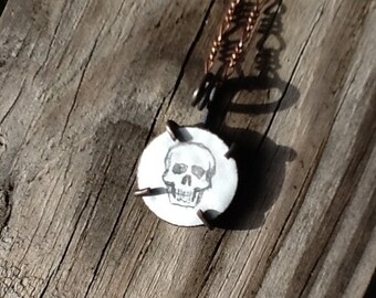 Halloween Skull Illustration Drawing on White Enameled Penny Coin Oxidized Copper Pendant Necklace