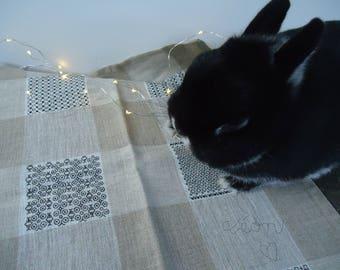 Embroidered linen Tea towel: blackwork