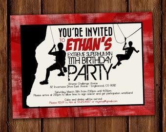 Zip line party etsy extreme sports birthday invitation zip line birthday invitation rock climber invitation printable file stopboris Gallery