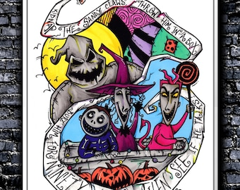 Kidnap The Sandy Claws - A5/A4 Signed Art Print (Inspired by Nightmare Before Christmas)