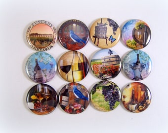 Tuscany Wine Magnets, Wine Country Magnets, Wine Country Pins, Wine Flatbacks, Wine Badges, Wine Charm Supply, Wine gift 12 Ct.