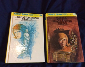 Nancy Drew Mystery stories  2 books 1970's Mystery of the Brass Bound Trunk and The Whispering Statue