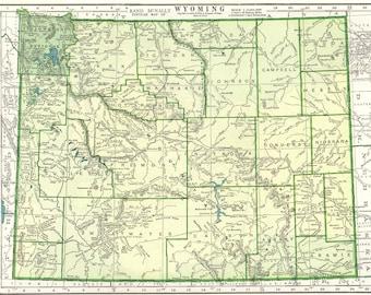Vintage wyoming map Etsy