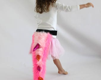 Pink Furry Monster Tail- Children's Costume