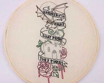 10 inch Dracula Quote hand sewn embroidery hoop wall hanging home decor art piece