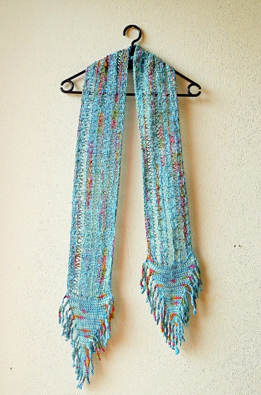 Fringe scarf pattern in boho style - combines knit and crochet ...
