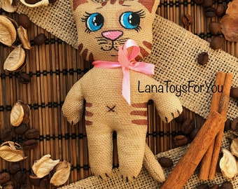 Cat Toy Vanilla Cinnamon Coffee, Cat Toy with Blue Eyes, CatToy Sachet Vanilla Cinnamon Coffee, Cute Kitten with Pink Bow