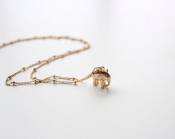 "Elephant Charm Necklace, 18"" 14k Gold Filled Satellite Chain"