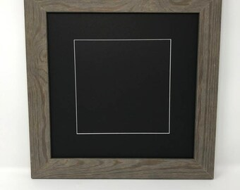 """16x16 Square1.75"""" Rustic Grey Solid Wood Picture Frame with Black Mat Cut for 12x12 SquarePicture"""