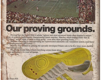 """Adidas Forest Hills Tennis Shoe Vintage Ad 10"""" X 7"""" Reproduction Metal Sign ZE58"""