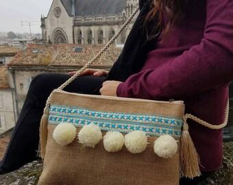 Pompom tassel cross body bag turquoise white hessian earthy hippy bohemian cross body bag gift idea trendy bag beige