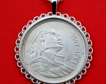 1957 Egypt 10 Piastres Silver Coin 925 Sterling Silver Necklace NEW - Sphinx