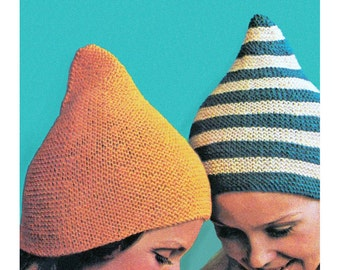 Pixie Hat Knitting Pattern Vintage Knit Pull On Gnome Hat Pattern Instant Download Girls Womens Sizes- K34