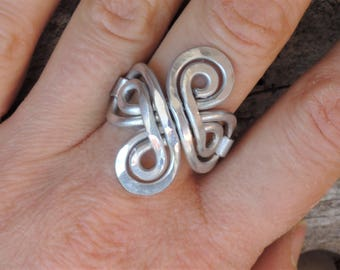 Long Bohemian Ring - Celtic Knot Ring -  Light comfortable non tarnishing silver aluminum - Wide Gypsy Ring