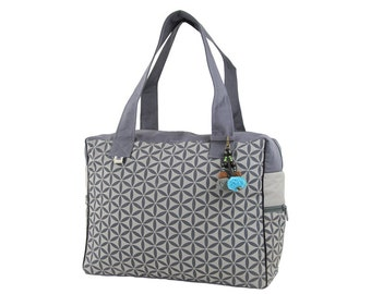 Flower of Life Retreat Bag - Grey on Grey