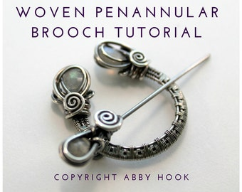 Woven Penannular Brooch, Wire Jewelry Tutorial, PDF File instant download, learn to make wire brooches