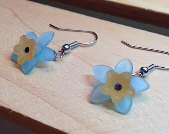 Orange & Blue Flower Earrings