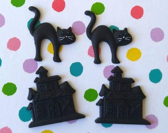 4 pc Hauted House Black Cat Flatback Cabochons Set of Four - Halloween Haunted Mansion Decoden Embellishment