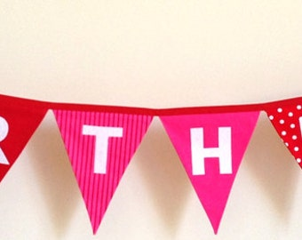 Happy Birthday Pink and Red Bunting Banner Flags Party Decoration