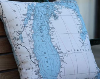 Michigan Pillow | Lake Michigan Map Pillow | Lake Michigan Topography | Michigan Throw Pillow | Michigan Decorative Pillow | Michigan Beach