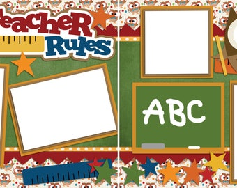 My Teacher Rules - Digital Scrapbooking  Quick Pages - INSTANT DOWNLOAD
