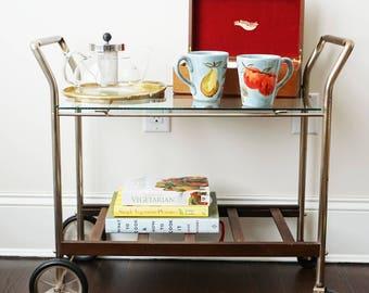 Metal & Glass Bar Cart / Tea Cart / Storage Cart with Wheels and Handles