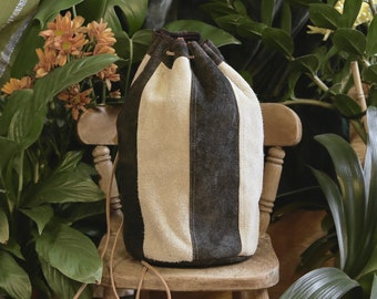 Luxury Genuine Suede Leather Ditty Bag, Black and Cream Stripes, Drawstring Backpack, Navy Satin Lining, Red/Cream Stitch