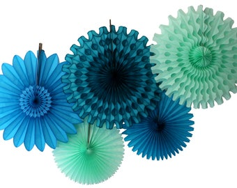 Sea Breeze Tissue Paper Fan Collection (5 fans, 13-18 inches) - Turquoise Blue, Mint, Teal Green