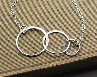 Generation Necklace Family Grandmother Jewelry Mother Grandchild 3 Circle Karma Necklace BFF Gift for Mom 3 Generations Sterling Silver