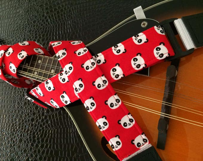 Ukulele strap, mandolin strap or child guitar strap // cute black and white pandas on red background // tween teenager gift or teacher gift