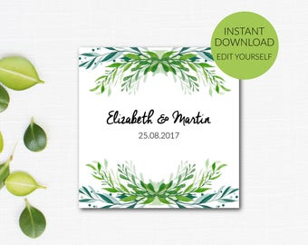 Wedding Favor Tags Printable Template, Editable PDF, Green Wedding, Botanical Wedding, Green Favor Tag, Watercolor Tag Instant Download