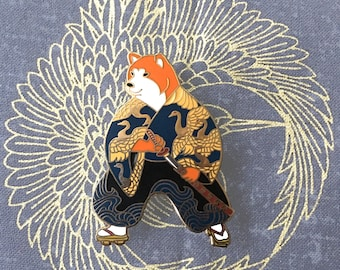 Shiba inu samurai enamel pin-shiba inu-dog enamel pin-shiba inu enamel pin-shiba pin-dogs gift-samurai-japan enamel pin-enamel pin-kawaii