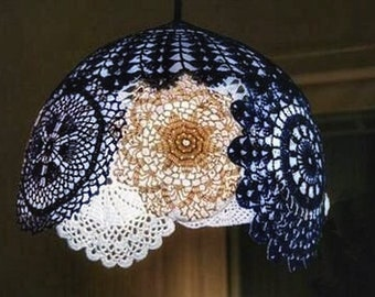 Simple/personalize/fun/recycled-original DIY tutorial of spherical/hemispherical lace light/lamp/shade/chandeliers/pendant-light/night-light