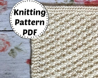 Knitting Pattern | Dishcloth Pattern | Knitted Dishcloth | Instant Download Dishcloth Pattern | Chain of Hearts